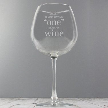 Personalised 'One Glass' Bottle of Wine Glass delivery to UK [United Kingdom]
