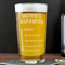 Personalised Beer-o-Meter Pint Glass delivery to UK [United Kingdom]