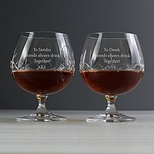 Personalised Pair of Crystal Brandy Glasses delivery to UK [United Kingdom]