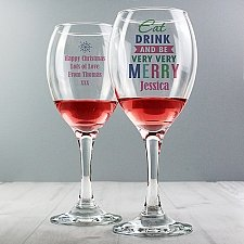 Personalised Eat Drink & Be Merry Wine Glass delivery to UK [United Kingdom]
