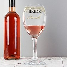 Personalised Gold Confetti Wine Glass delivery to UK [United Kingdom]