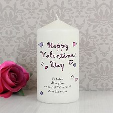 Personalised Flowers and Butterflies Happy Valentines Day Candle delivery to UK [United Kingdom]
