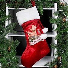 Personalised Festive Fawn Luxury Stocking delivery to UK [United Kingdom]