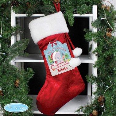 Personalised Tiny Tatty Teddy My 1st Christmas Luxury Stocking
