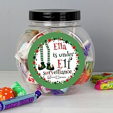 Personalised Elf Surveillance Sweet Jar delivery to UK [United Kingdom]