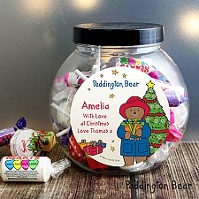 Personalised Paddington Bear Christmas Sweets Jar delivery to UK [United Kingdom]