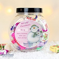 Personalised The Snowman and the Snowdog Pink Sweet Jar delivery to UK [United Kingdom]