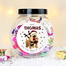 Personalised Boofle Christmas Reindeer Sweet Jar delivery to UK [United Kingdom]