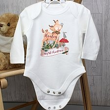 Personalised Festive Fawn 3-6 Months Long Sleeved Baby Vest delivery to UK [United Kingdom]