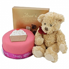 Birthday Pink Cup Cake With Teddy and Chocolate delivery to UK [United Kingdom]