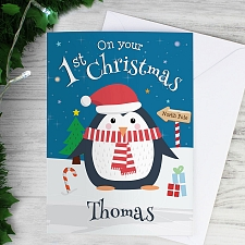 Personalised Christmas Penguin Card