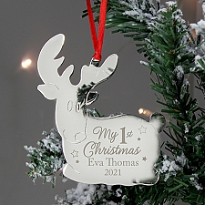 Personalised Christmas Reindeer Metal Decoration