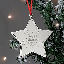 Personalised Christmas Star Metal Decoration