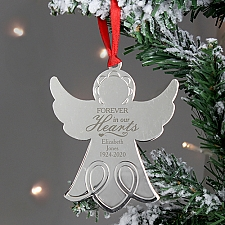 Personalised Hearts Angel Metal Decoration