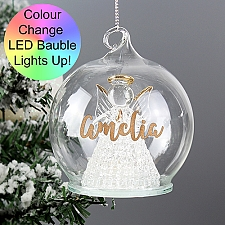 Personalised LED Angel Christmas Bauble Delivery to UK