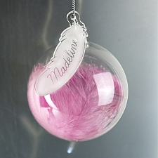 Personalised Pink Feather Glass Bauble