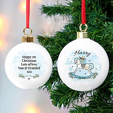 Personalised Blue Rocking Horse Bauble Delivery to UK
