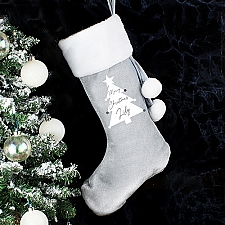 Personalised Christmas Tree Grey Stocking Delivery to UK