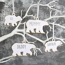 Personalised Polar Bear Wooden Decoration