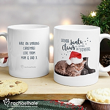 Personalised Santa Claws Christmas Cat Mug