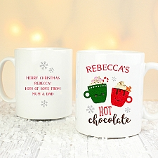 Personalised Cute Christmas Hot Chocolate Mug Delivery to UK
