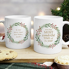 Personalised Wonderful Time Christmas Mug Delivery to UK