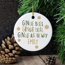 Personalised Gingle Bells Round Ceramic Decoration