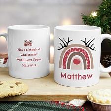 Personalised Rainbow Reindeer Mug