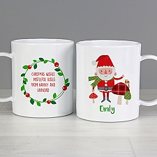 Personalised Christmas Santa Plastic Mug Delivery to UK