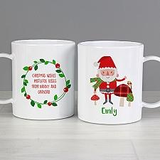 Personalised Christmas Santa Plastic Mug Delivery to UK