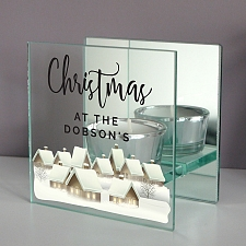 Personalised Christmas Mirrored Light Candle Holder