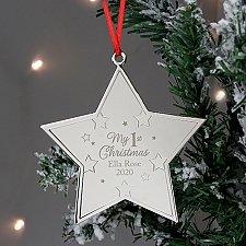 Personalised Christmas Star Metal Decoration