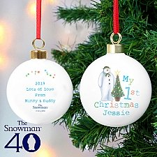 Personalised Snowman My 1st Christmas Bauble