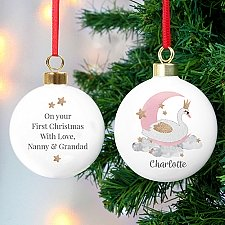 Personalised Swan Lake Bauble Delivery to UK