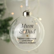 Personalised Gold Star Glass Bauble