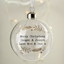Personalised Gold Wreath Glass Bauble