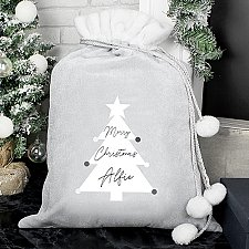 Personalised Christmas Tree Pom Pom Sack Delivery to UK