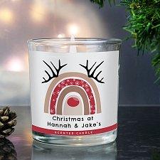 Personalised Rainbow Reindeer Scented Jar Candle