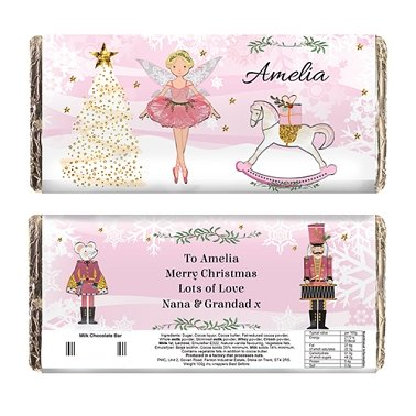 Personalised Sugar Plum Fairy Milk Chocolate Bar Delivery to UK