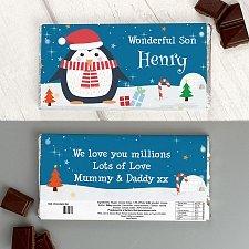 Personalised Christmas Penguin Milk Chocolate Bar