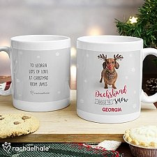Personalised Christmas Dachshund Snow Mug