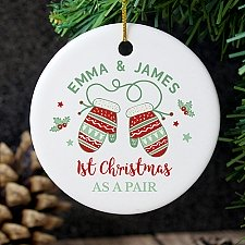 Personalised Couples Christmas Ceramic Decoration Delivery to UK