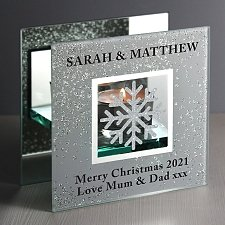 Personalised Snowflake Silver Glitter Tea Light Holder