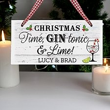 Personalised Christmas Gin Wooden Sign Delivery to UK