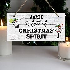 Personalised Christmas Spirit Wooden Sign Delivery to UK