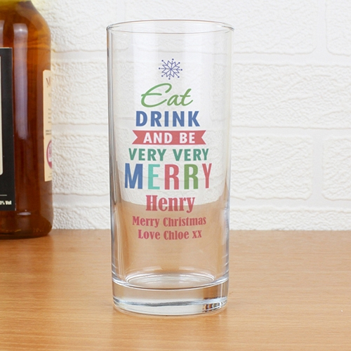 Personalised Merry Christmas Bright... Hi Ball Glass