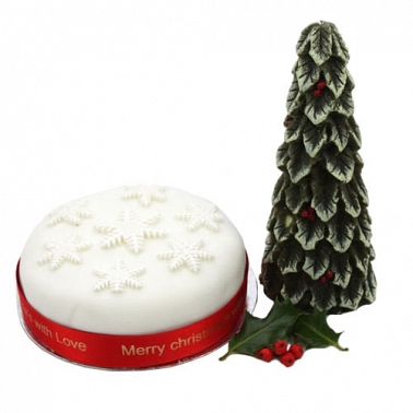 Snowflake Christmas fruit cake delivery UK