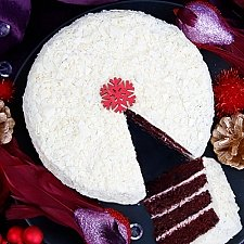 White and Red Velvet Snowball Cake Delivery to UK