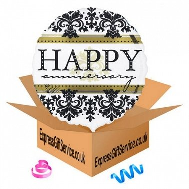 Happy Anniversary Damask Balloon delivery to UK