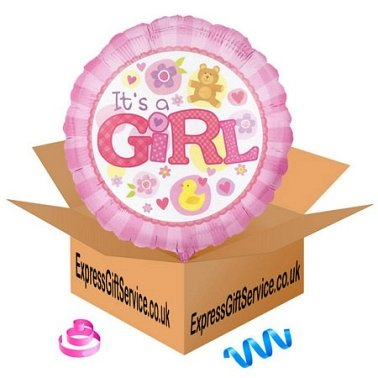 Its A Girl Pink Balloon delivery to UK